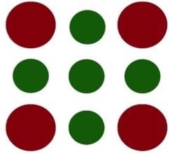 logo circles burgundy green